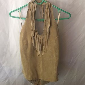 Suede halter top with fringe neck